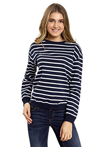 oodji Ultra Damen Lässiges Sweatshirt Gestreift, Blau, DE 32 / EU 34 / XXS