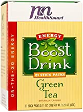 HealthSmart Energy Boosting Drink Mix, Increases Metabolism, Sugar Free, Antioxidant, Green Tea, Fights Fatigue, Just Add to Water, KETO Diet Friendly, Natural Green Tea Flavor, 21 Serving Box