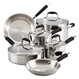 Anolon Advanced Triply Stainless Steel Cookware Pots and Pans Set, 10 Piece, Onyx