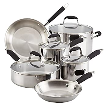 Anolon Advanced Triply Stainless Steel Cookware Pots and Pans Set 10 Piece Onyx