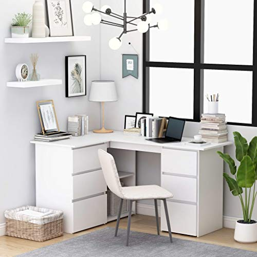 Irfora Eckschreibtisch Schreibtisch L-Form Computertisch mit 6 Schubladen und 2 Ablagen Bürotisch PC Tisch Officetisch Arbeitstisch Desk Laptoptisch Büromöbel, Weiß 145×100×76 cm