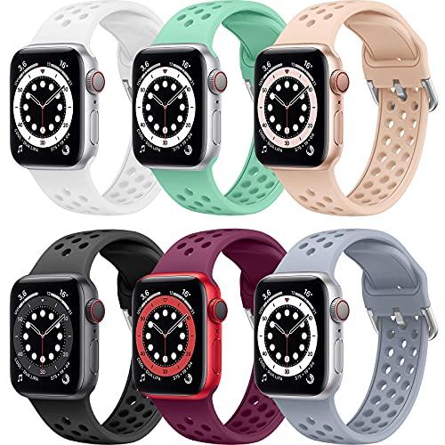 Songsier Correa Compatible con Apple watch 38mm 40mm 42mm 44mm, Silicona Suave Respirable Orificio de Aire Pulseras Deportivas Correas de Repuesto Compatibles con Iwatch Series 6 5 4 3 2 1 Se