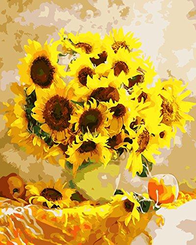 Fuumuui Lienzo de Bricolaje Regalo de Pintura al óleo para Adultos niños Pintura por número Kits Decoraciones para el hogar-Girasol Amarillo 16 * 20 Pulgadas