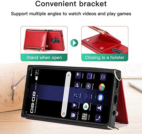 SLDiann Case for Huawei Mate 20 lite, Zipper Wallet Case with Credit Card Holder/Crossbody Long Lanyard, Shockproof Leather TPU Case Cover for Huawei Mate 20 lite (Color : Red)