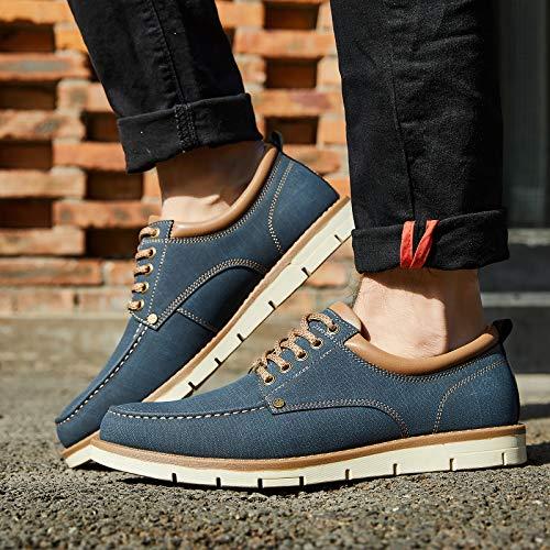 Kkyc Men's Shoes Comfortable Casual Shoes Slip on Lace up Shoes 11M (Blue)