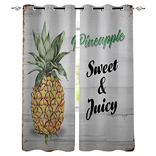 YUESUO Kids Bedroom Curtains Eyelet Blackout Curtains Pineapple Fruit Retro Wooden Board Boys Girls Nursery Home Decor Window Curtains 2 Panels Thermal Insulated Energy Saving 3D Printing Pattern 39x6