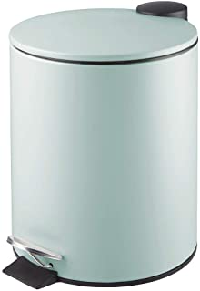 mDesign 5 Liter Round Small Metal Step Trash Can Wastebasket, Garbage Container Bin - for Bathroom, Powder Room, Bedroom, Kitchen, Craft Room, Office - Removable Liner Bucket - Mint Green