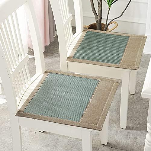 WHZG Cojín para silla de verano, cojín para silla de oficina, comedor, silla de ratán, cojín de asiento de estudiante, cojín de silla (color verde, tamaño: 45 x 45 cm)