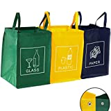 TRESKO 3er Set Mülltrennsystem Abfalltrennsystem für Glas, Plastik und Papier
