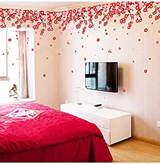 Decals Design StickersKart Wall Stickers Flowers Pink & Red Romantic Cherry Wedding Decoration Living Room Backdrop (Multi...