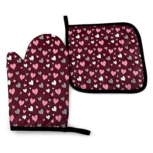 Vector Cute Heart Polka Oven Mitts Juego de Soportes para ollas Cocina Resistente al Calor Impermeable con Capa Interior de poliéster