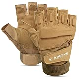 Aihoye Workout Gloves, Anti-Cut Wristwrap Weightlifting Gloves, Exercise Gloves,Wrist Wrap Support Tactical Half-Finger Gloves,for Fitness, Running, Mountaineering, etc. 1 Pair(Sand Color, M)