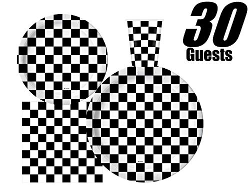 Serves 30 | Complete Party Pack | Black and White Checkered | 9' Dinner Paper Plates | 7' Dessert Paper Plates | 9 oz Cups | 3 Ply Napkins | Race Car Party Theme