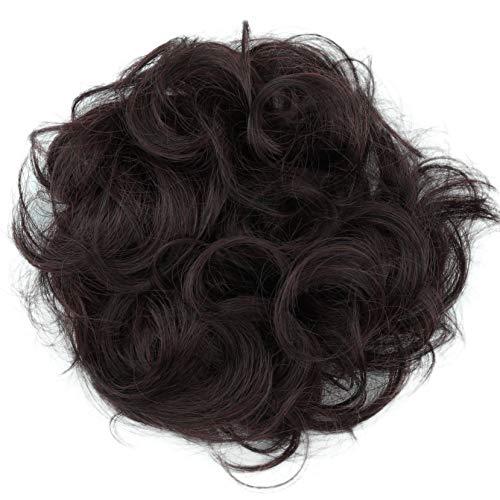 PRETTYSHOP XL Haarteil Haargummi Hochsteckfrisuren Brautfrisuren Voluminös Gelockt Unordentlich Dutt Weinrot Mix G23A