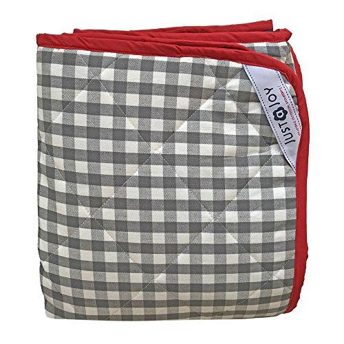 Extra große Picknickdecke - Grau Karomuster - Gepolstert