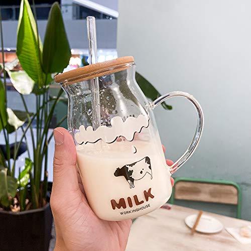 qunxun Vaso De Paja con Tapa De Madera Vaso De Agua Creativo De Gran Capacidad Vaso De Leche 500ML Una pequeña Vaca