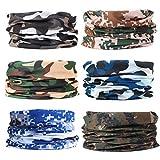 EAZZEA 6pcs Magic Wide Tube Face Mask,Neck Gaiter, Headwear, Sports Scarf, Camo Bandana, Balaclava, Headband for Women And Men