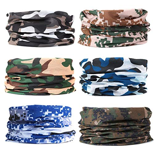 EAZZEA 6pcs Magic Wide Tube Face Mask,Neck Gaiter, Headwear, Sports Scarf, Camo Bandana, Balaclava, Headband for Women And Men