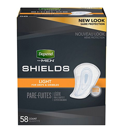 58 Count (1 Package) Depend Shields/Guard for Men Light Absorbency