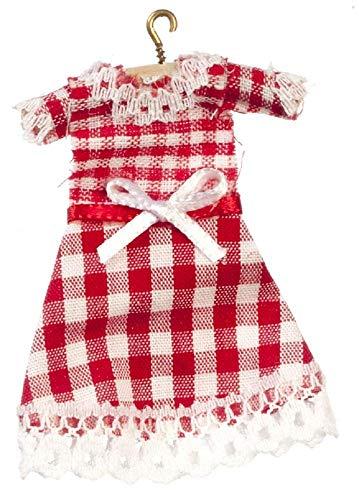 Maison De Poupée Miniature Accessoire De Pépinière Petites Filles Vichy Rouge Robe sur Support