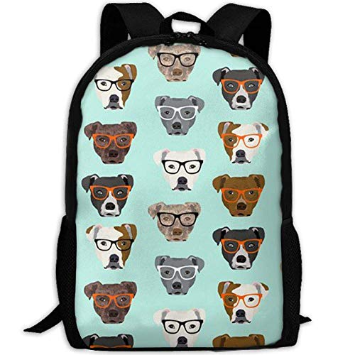 best& Vintage Pitbull In Glasses College Laptop Backpack Student School Bookbag Rucksack Travel Daypack