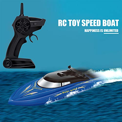 Graysky RC Boat, 2.4GHz 25KM/H High Speed 4 Channels Remote Control Electric Racing Boat for Lakes & Pools, Automatically 180° Flipping Watercraft Best Gift for Kids, Adults, Boys and Girls (Blue)