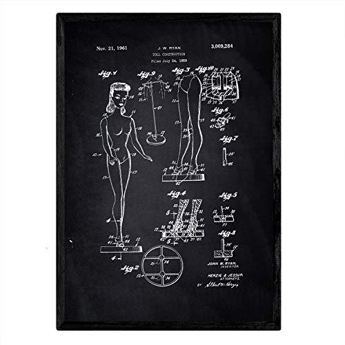 Nacnic Poster con patente de Muñeca infantil. Lámina con diseño de patente antigua en tamaño A3 y con fondo negro