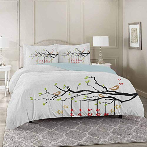 YUAZHOQI Live Laugh Love 100% Washed Microfiber 3pcs Bedding Set Twin, Couple of Birds in Love Sitting on a Branch with an Inspirational Quote Soft and Breathable with Zipper Closure & Corner Ties