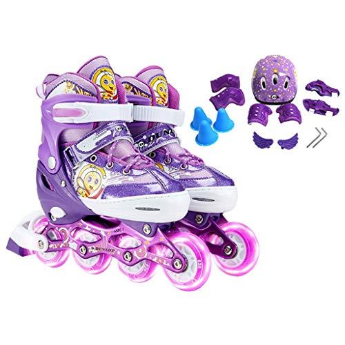 Jugend Inline Skates, justierbare Kinder Quad Roller Skates, Jungen und Mädchen Professionelle Durable Roller Skates (Farbe: Lila, Größe: L (EU 38-41)) dongdong ( Color : Purple , Size : L (EU 3841) )