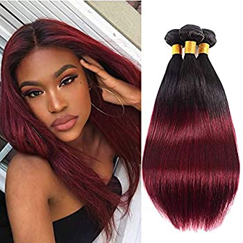 Brazilian Straight Hair Ombre Bundles 2 tone 100% Human Hair Weaves with Dark roots to Wine Red Color Unprocessed 8A Grade Full Head Hair Weaving …  14 16 18 1b99j 3 bundles