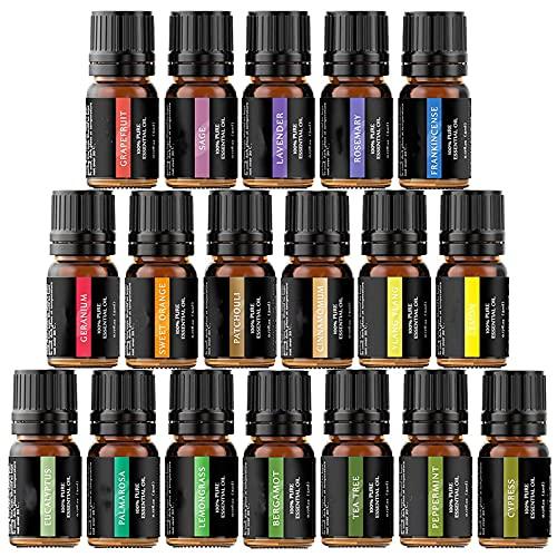 Ätherische Öle Set ätherisches Öl Aromatherapie Duftöl 18 x 5 ml für Aroma diffuser 100% Reines Geschenkset Aromatherapie-Öl-Kit -lavendel,Orange, Zitrone, Ylang Ylang und mehr