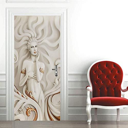 3D Etiqueta de Puerta Autoadhesiva 88X200CM,Extraíble de Bricolaje Pegatinas de Pared decoración de Hogar Arte Moderno Vinilos Puerta Pegatina- Belleza de La Estatua