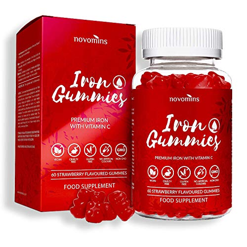 Vitamin C - Iron Gummies - Vitamin C Gummies - Chewable Vitamin C - High Strength Strawberry Flavoured Supplement - Vitamin C Nutrition - Made in UK by Novomins