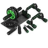 TOMSHOO 5-in-1 Fitness Workout Set - AB Wheel Roller Addominali +2 Maniglie per Flessioni ...