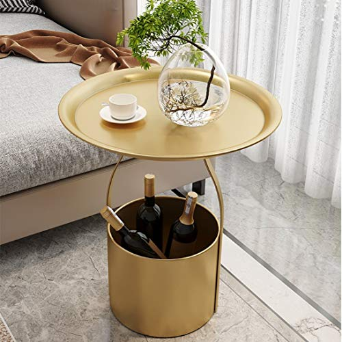 Round Side Table, Gold Metal End Table, bedside table with storage basket, coffee table for living rooms, bedrooms, children's rooms, living rooms and offices