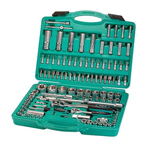 Set cricchetti e bussole da 110 pezzi | WIESEMANN 80126 | lega acciaio in cromo e vanadio | bussole e punte | 1/2″ | 1/4″ | bus