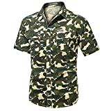 Camisas de Camuflaje de Verano Hombres Camisas Casuales de Manga Corta Masculina Tactical Tops Militares Ropa de Camuflaje de los Hombres Khaki XXXL