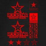 Set For Rockstar Energy Vinyl Decal Stickers Car Truck Dirt Bike Helmet Styling Decorative Accessories Sticker/No background (RED)