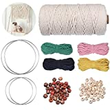 Cuerda Macrame Set, Wuudi Cordón Hilo de Algodó Natural 3mm x 100m Cuerda, 4 x Anillo de Hierro, 4 x Cuerda Colorida, 100 x Cuentas de Madera. para Colgante de Plantas, Manualidades, DIY Artesanía