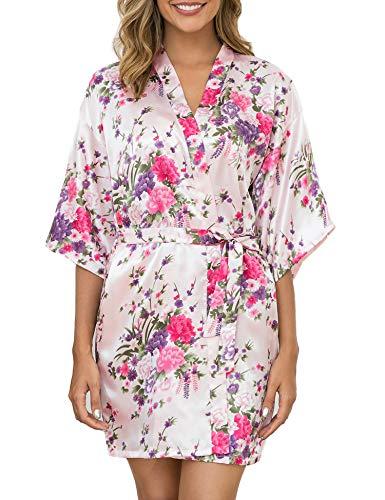Aibrou Bata Mujer Seda Flores Corto,Kimono Satén Suave y Comodo Ropa Dama de Novia