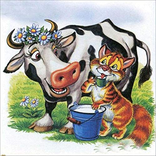 5D Diamond Painting Kits Garland Animals Cow and Tiger DIY Diamond Painting Art Painting Kits,Art Craft Canvas Cross Stitch Painting for Home11.8x15.7 inch(Frameless)