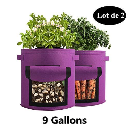 OMNIPRO Sac de Plantation de Jardin,2 x 9 Gallons Sac à Culture de Pomme de Terre,Violet