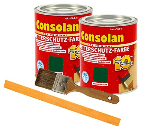 Consolan Wetterschutzfarbe deckend / 2x 0,75L moosgrün 220 / Holzschutzfarbe Holzfarbe bis zu 10 Jahre wetterbeständig für Holz und Zink Außen inkl. Pinsel & Rührstab