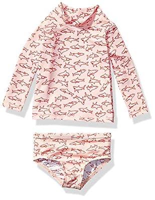 Amazon Essentials UPF 50+ Baby Girls 2-Piece Long-Sleeve Rash Guard Set, Pink Shark, 12M