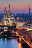 Deutsche Städte - Köln - Kölner Dom - Nacht - Plakat