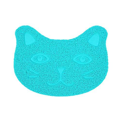 Suloill - Alfombrilla de arena para gatos (1 unidad, fibra elástica de PVC, diseño de gato azul)