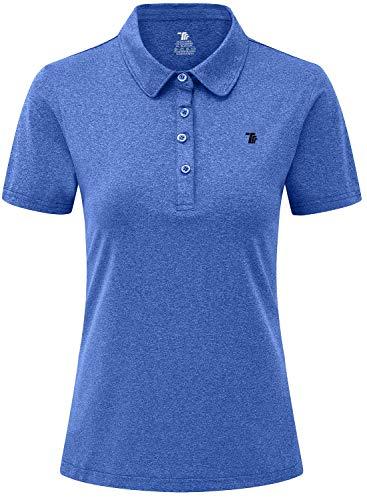 JINSHI Donna Polo da Lavoro a Maniche Corte Shirt Sportivo Golf Tennis Top Blu Cielo S