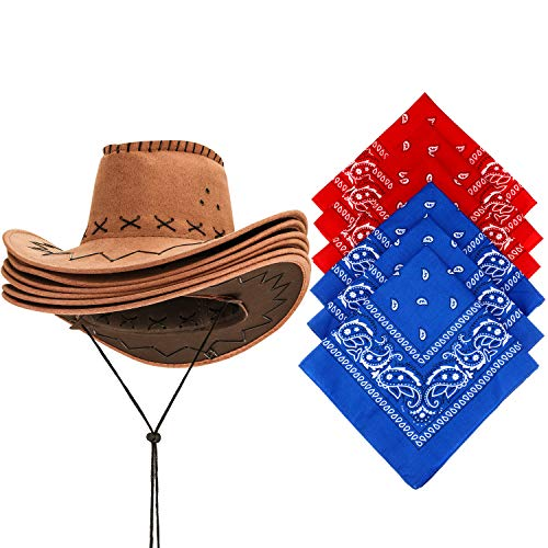 SATINIOR 6 Packs Western Cowboy Hat with Bandanna, Fancy Dress Party Favorite