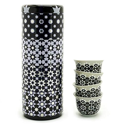 IMAGES D'ORIENT Geschenkset 2 in 1 Metalldosen mit 4x60 ml Porzellan Espressotassen Espressobecher Moccatassen in mediterranem Design