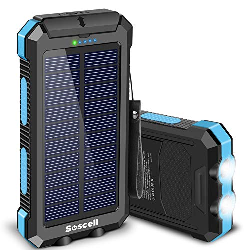 Solar Power Bank 30000mAh, Suscell Portable Solar Phone Charger with 2 Output Ports, Flashlight, IPX4 Splashproof and Shockproof for Outdoor Activities, Compatible with Smartphones and Other Devices